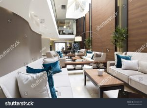 Cafe interior with white and blue pillows